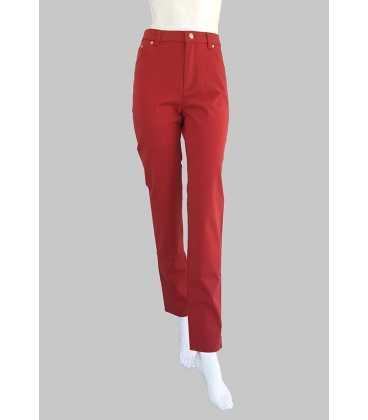 Pantalón Rojo Mujer Bandas Rojas