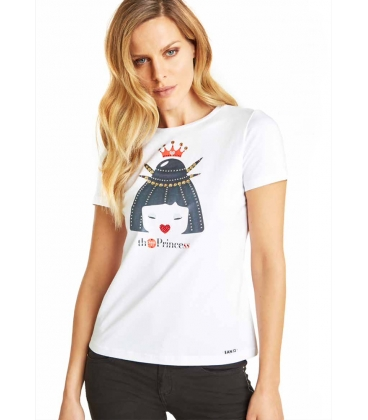 Camiseta Blanca Ean13 Mujer